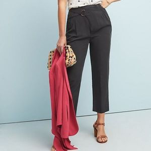 Anthropologie Cupro Wrap Trousers in Black